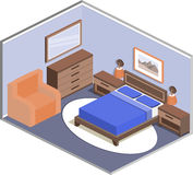 Bedroom interior in isometric style. Room design. Modern design of cozy bedroom with furniture. Interior in isometric style. Vector 3D illustration Stock Photos