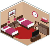 Bedroom interior in isometric style. Vector. Royalty Free Stock Photos