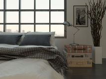 Bedroom interior with king-size bed against huge window Stock Photos
