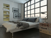 Bedroom interior with king-size bed against huge window Stock Photo