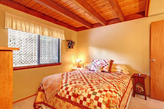 Bedroom interior in lob cabin house Royalty Free Stock Photo