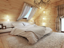 Bedroom interior in a log on the attic floor with a roof window. Large bedroom with bedside tables and a shaggy carpet. Bedroom in modern style. 3D render Stock Photos