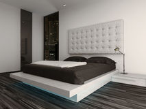 Bedroom interior with modern furniture and bed Royalty Free Stock Photography