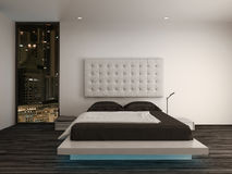 Bedroom interior with modern furniture and bed Stock Photos