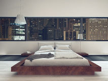 Bedroom interior with modern furniture and bed Royalty Free Stock Photos