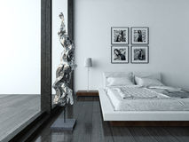 Bedroom interior with modern furniture and bed Stock Photography