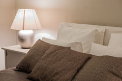 Bedroom interior at modern hotel Royalty Free Stock Photos