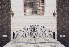 Bedroom interior. The interior of modern bedroom with painting Royalty Free Stock Photos