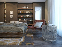 Bedroom interior in modern style Stock Photos