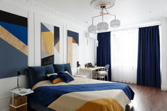 Bedroom interior in modern style with a large bed and paintings Royalty Free Stock Photo