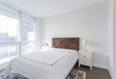 Bedroom interior in a new house Stock Images