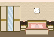 Bedroom interior in pastel colors with furniture. Flat vector illustration Stock Photography