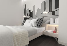 Bedroom interior with pillows on the bed Stock Photos