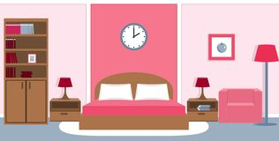 Bedroom interior in pink colors. Vector illustration. Bedroom interior with furniture - bed, nightstands, bedside lamps, bookcase, armchair in pink colors Stock Photo