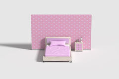 Bedroom interior in pink,violet and white colors Stock Images