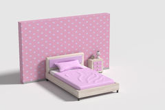 Bedroom interior in pink,violet and white colors Royalty Free Stock Image