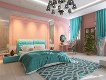 Bedroom interior in pink Stock Photo