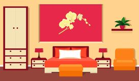 Bedroom interior in red and orange colors. Vector illustration. Royalty Free Stock Image