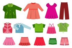Set of baby clothes. Vector illustration. Royalty Free Stock Photo