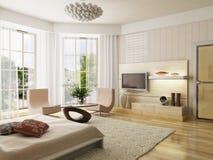 Bedroom interior rendering stock illustration