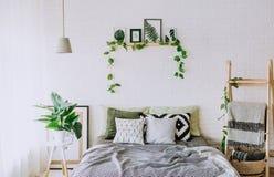 Bedroom interior rustic loft bed blankets decor stock photo