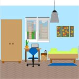 Bedroom interior with a single bed. Vector illustration royalty free illustration