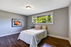 Bedroom interior with single bed and window Stock Photo