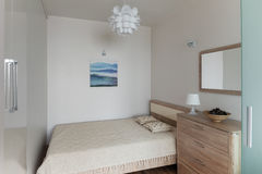 Bedroom interior in small modern apartment in scandinavian style Stock Photo