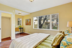 Bedroom interior with small office area Royalty Free Stock Photos