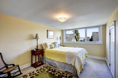 Bedroom interior in soft ivory color Stock Photos