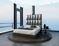 Bedroom interior with ultramodern cool bed Royalty Free Stock Photos