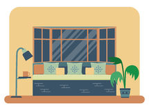 Bedroom interior vector. Flat style vector illustration of a bedroom interior. Bed near a large window with lots of pillows and decorative cushions Royalty Free Stock Photos