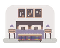 Bedroom interior vector. Flat style vector illustration of a bedroom interior. Bed with pillows and cushions, bedside tables with lamps, pictures, shelf with Royalty Free Stock Photography