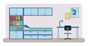 Bedroom interior vector. Flat style vector illustration of a bedroom interior. Child bedroom with closet, bookshelves, bed, desk and a chair Stock Photos