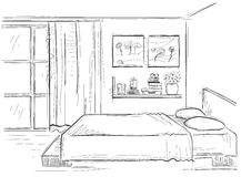 Bedroom interior.Vector hand drawing modern home illustration Stock Photography