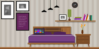 Bedroom interior vector house furniture homr Stock Photos