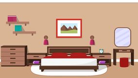 Bedroom interior. Vector illustration. Royalty Free Stock Images