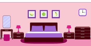 Bedroom interior in violet colors. Vector illustration. Bedroom interior with furniture - bed, bedside lamp, mirror, table, ottoman, chest of drawers, clock in Royalty Free Stock Photography