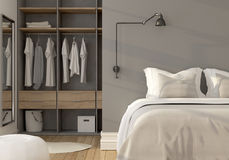 Bedroom interior with wardrobe Stock Images