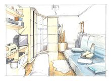Bedroom watercolor interior. Bedroom interior in watercolor and pencils vector illustration