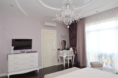 Bedroom interior with white furniture.  Stock Image