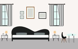 Bedroom interiors with furniture in modern style. Vector room Stock Photography