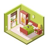 Bedroom cartoon illustration of isometric modern small bedroom and interior furniture in cross section. Bedroom isometric illustration of modern small room royalty free illustration