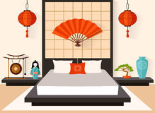 Bedroom in the Japanese style vector. Bedroom in the Japanese style. The interior of the flat style. Vector illustration. Traditional Oriental Room Stock Photo