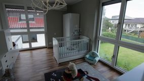 Bedroom kids. Kids bedroom with white lamp stock footage