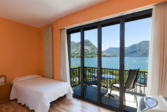 Bedroom with lake view Royalty Free Stock Photography