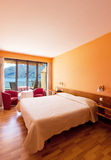 Bedroom with lake view Royalty Free Stock Images