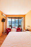 Bedroom with lake view Royalty Free Stock Photos