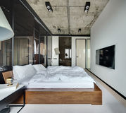 Bedroom in loft style Royalty Free Stock Images