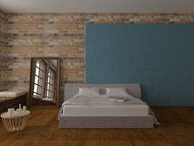 Bedroom in loft style. Render of bed in light empty room with brickwalls and hardwood floor, with blue decoration, mirror, windows and pillows Stock Photography
